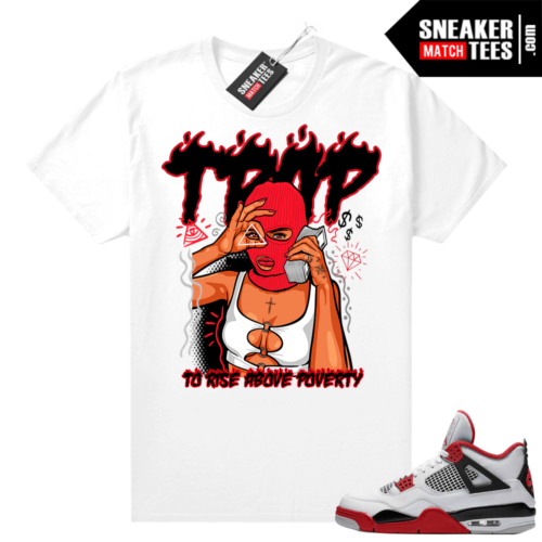 Fire Red 4s Jordan Sneaker Tees Shirts White To Rise Above Poverty