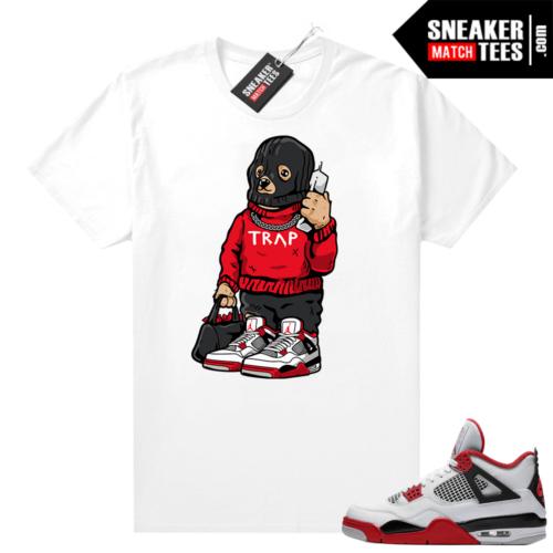 Fire Red 4s Jordan Sneaker Tees Shirts White Trap Bear