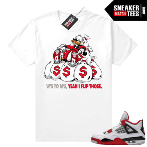 Fire Red 4s Jordan Sneaker Tees Shirts White Ws to Ms