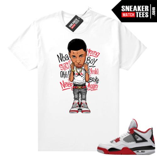 Fire Red 4s Jordan Sneaker Tees Shirts White Young Boy NBA
