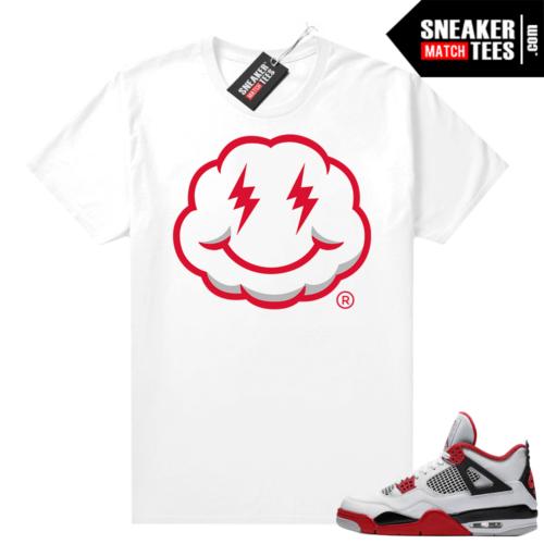 Fire Red 4s Jordan Sneaker Tees Shirts White lightning Smiley Cloud