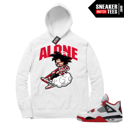Fire Red 4s Sneaker Hoodies White Alone