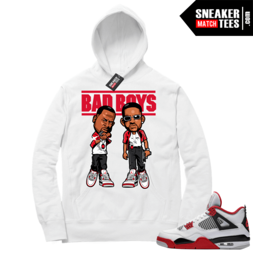 Fire Red 4s Sneaker Hoodies White Bad Boys