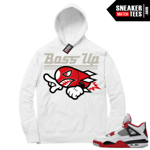 Fire Red 4s Sneaker Hoodies White Boss Up