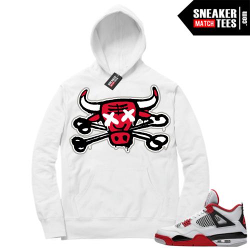 Fire Red 4s Sneaker Hoodies White Bully Bones