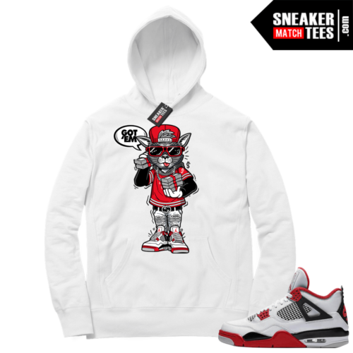 Fire Red 4s Sneaker Hoodies White Cat With The Stacks