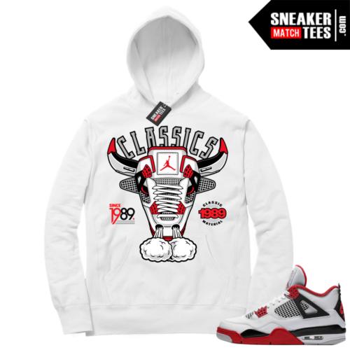 Fire Red 4s Sneaker Hoodies White Classic Retro 4 Bull
