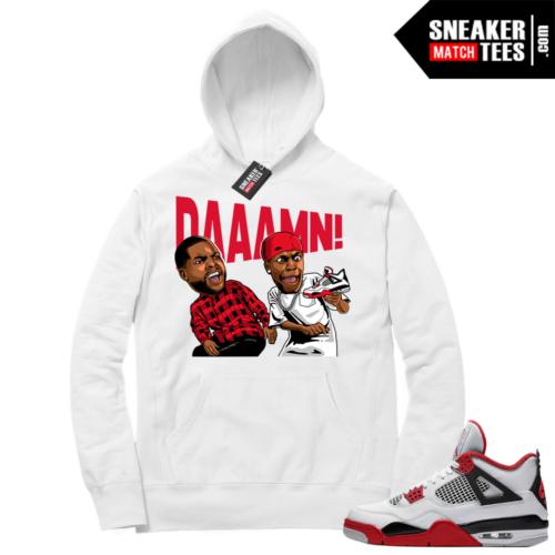 Fire Red 4s Sneaker Hoodies White DAAAMN
