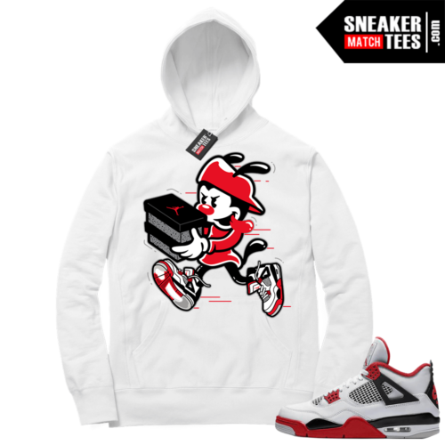 Fire Red 4s Sneaker Hoodies White Double Up