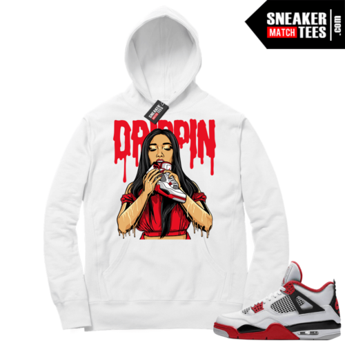 Fire Red 4s Sneaker Hoodies White Drippin 4s