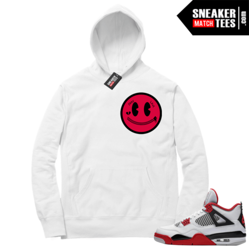 Fire Red 4s Sneaker Hoodies White Fake Love Smiley