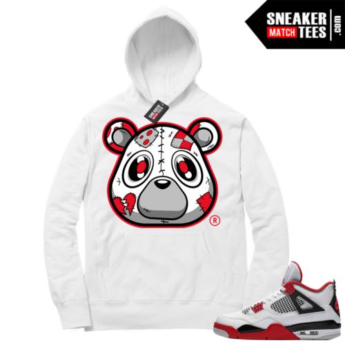 Fire Red 4s Sneaker Hoodies White Heartless Bear