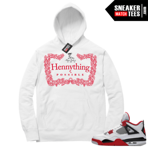 Fire Red 4s Sneaker Hoodies White Hennything