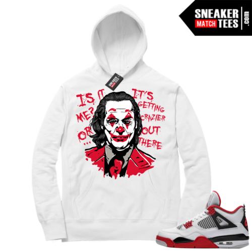Fire Red 4s Sneaker Hoodies White Joker