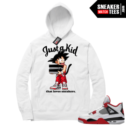 Fire Red 4s Sneaker Hoodies White Just A Kid
