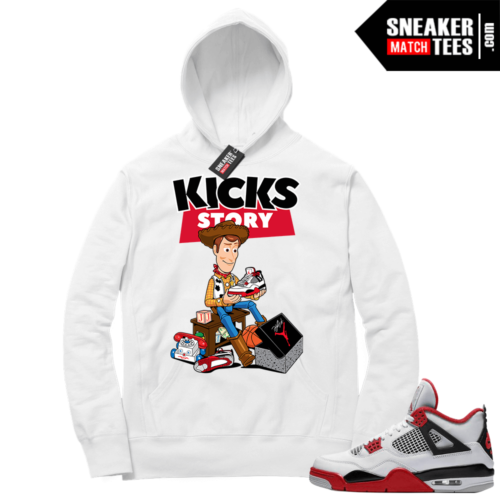 Fire Red 4s Sneaker Hoodies White Kicks Story