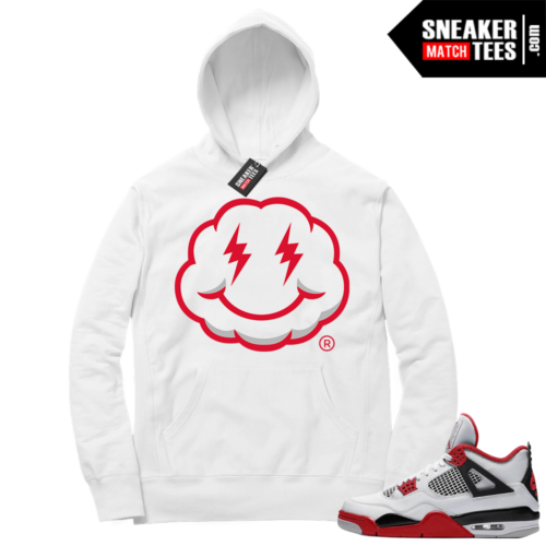 Fire Red 4s Sneaker Hoodies White Lit Smiley Cloud