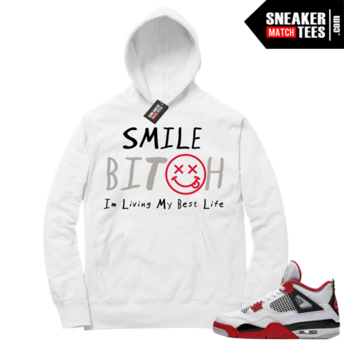 Fire Red 4s Sneaker Hoodies White Living My Best Life
