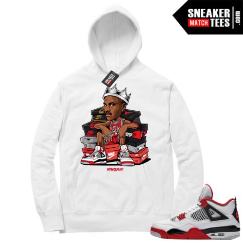 Fire Red 4s Sneaker Hoodies White MJ King