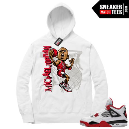 Fire Red 4s Sneaker Hoodies White MJ Toon