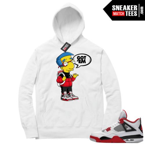 Fire Red 4s Sneaker Hoodies White Millhouse Got EM