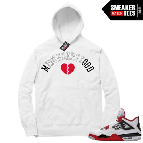 Fire Red 4s Sneaker Hoodies White Misunderstood