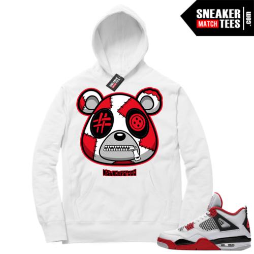 Fire Red 4s Sneaker Hoodies White Misunderstood Bear