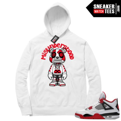 Fire Red 4s Sneaker Hoodies White Misunderstood Bear Toon