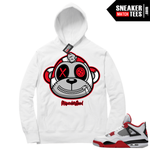 Fire Red 4s Sneaker Hoodies White Misunderstood Monkey