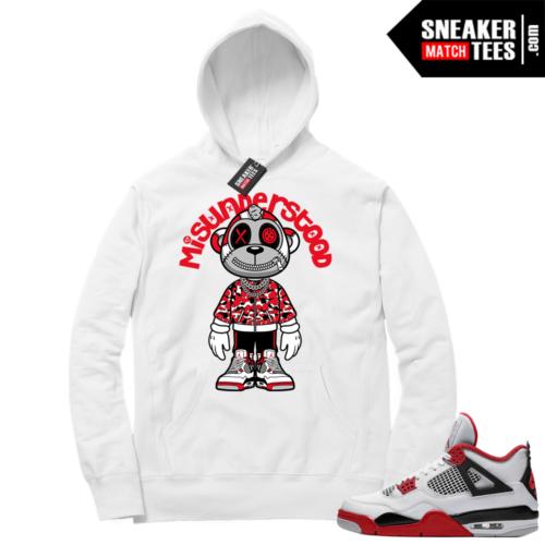 Fire Red 4s Sneaker Hoodies White Misunderstood Monkey Toon
