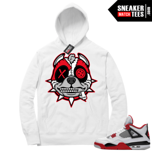 Fire Red 4s Sneaker Hoodies White Misunderstood Pitbull