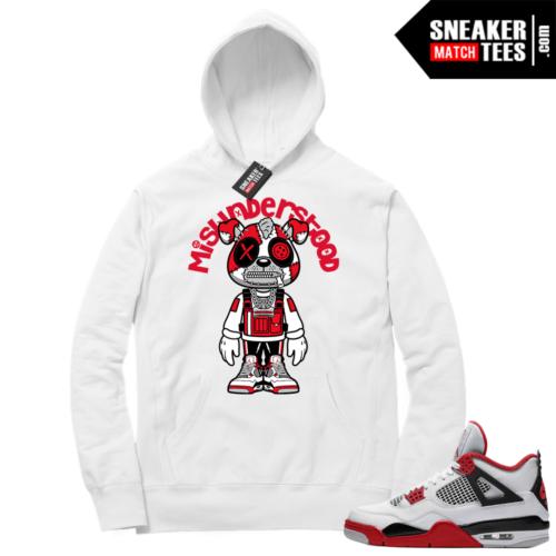 Fire Red 4s Sneaker Hoodies White Misunderstood Puppy Toon