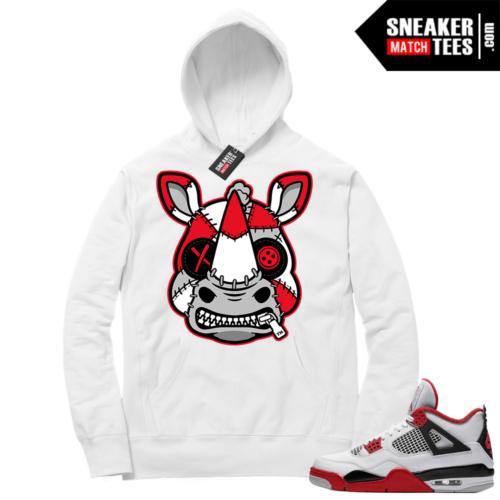 Fire Red 4s Sneaker Hoodies White Misunderstood Rhino