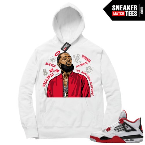 Fire Red 4s Sneaker Hoodies White Nipsey Tribute