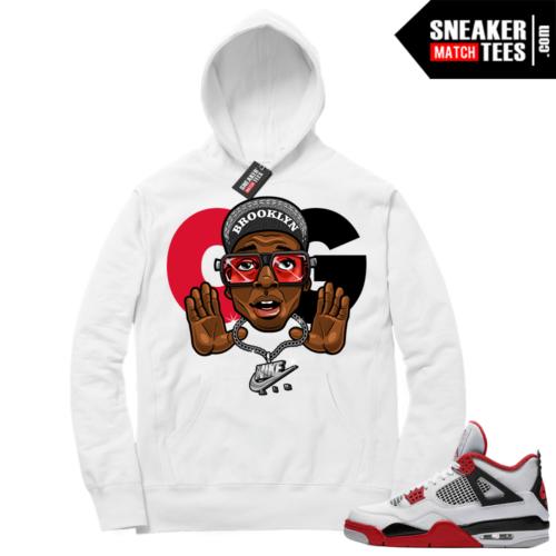 Fire Red 4s Sneaker Hoodies White OG Mars