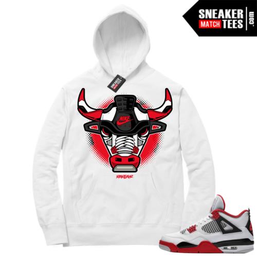 Fire Red 4s Sneaker Hoodies White Rare Air Bull