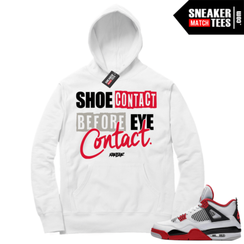 Fire Red 4s Sneaker Hoodies White Shoe Contact