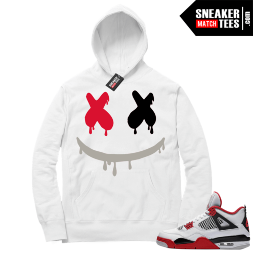 Fire Red 4s Sneaker Hoodies White Smiley Drip