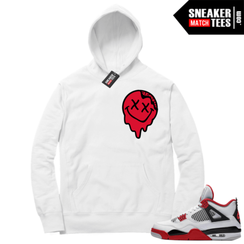 Fire Red 4s Sneaker Hoodies White Smiley Slime