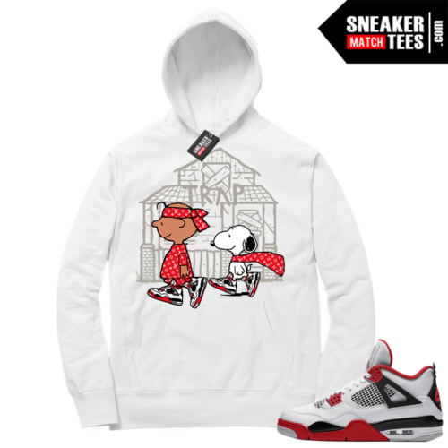 Fire Red 4s Sneaker Hoodies White Snoopy Trap House