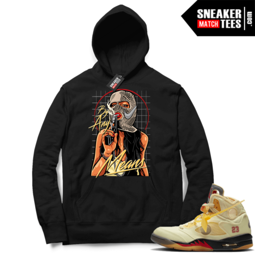 OFF White Jordan 5 Sail Sneaker Hoodies Black By Any Means