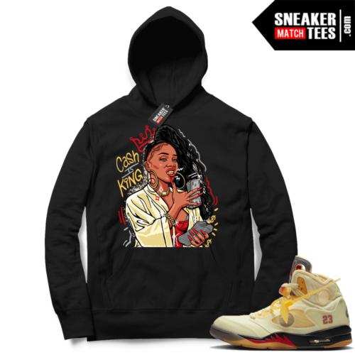 OFF White Jordan 5 Sail Sneaker Hoodies Black Cash Is King