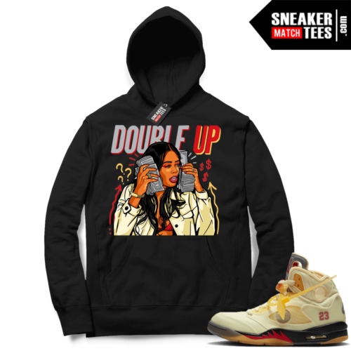 OFF White Jordan 5 Sail Sneaker Hoodies Black Double Up Gang