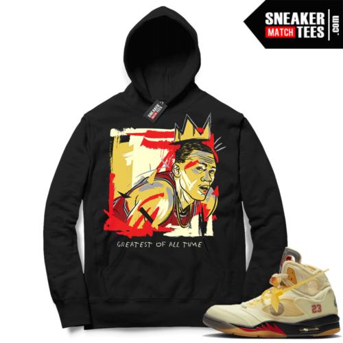 OFF White Jordan 5 Sail Sneaker Hoodies Black Goat Basquiat