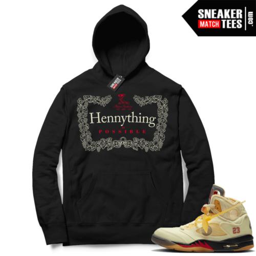 OFF White Jordan 5 Sail Sneaker Hoodies Black Hennything