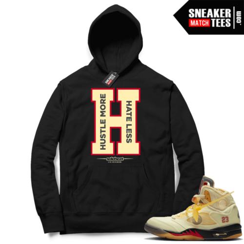 OFF White Jordan 5 Sail Sneaker Hoodies Black Hustle More