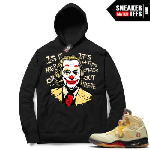 OFF White Jordan 5 Sail Sneaker Hoodies Black Joker