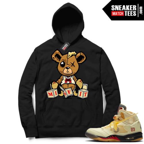 OFF White Jordan 5 Sail Sneaker Hoodies Black Misfit Teddy