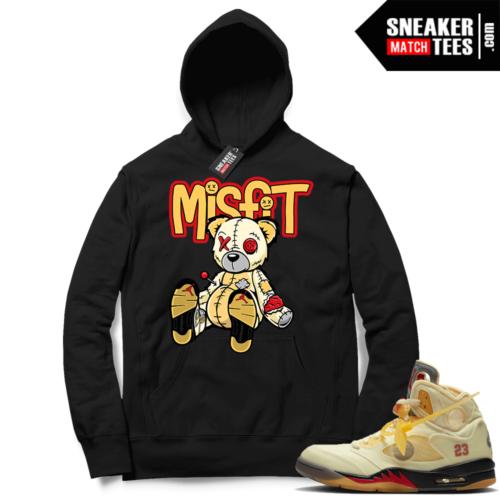 OFF White Jordan 5 Sail Sneaker Hoodies Black Misfit Voodoo Sneaker Bear