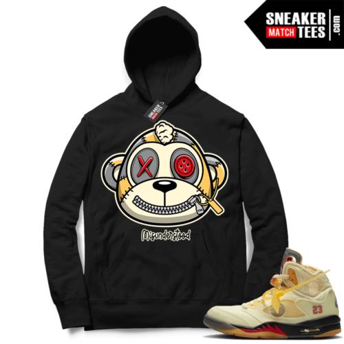 OFF White Jordan 5 Sail Sneaker Hoodies Black Misunderstood Monkey